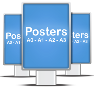 Signs showing large format posters in A0, A1, A2, A3
